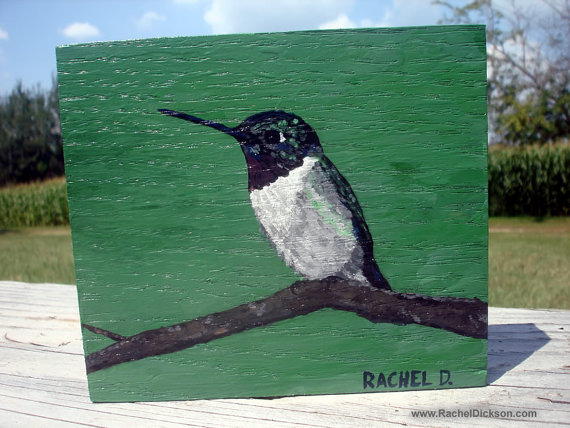 Rachel Dickson, Artist: Original Abstract Painting titled Fred, male ruby-throated hummingbird